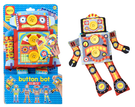 Развивающая игрушка Робот Пуговка от 2х летСобери своего уникального работа. Комбинируй и сочетай бесконечное число образов. В наборе: тряпичная игрушка-робот (корпус робота с 7 пуговицами, к которым пристегиваются сменные детали). 25 сменных предметов: 4 руки и ноги, 2 кузовные панели, 2 головы и т.д.<br>