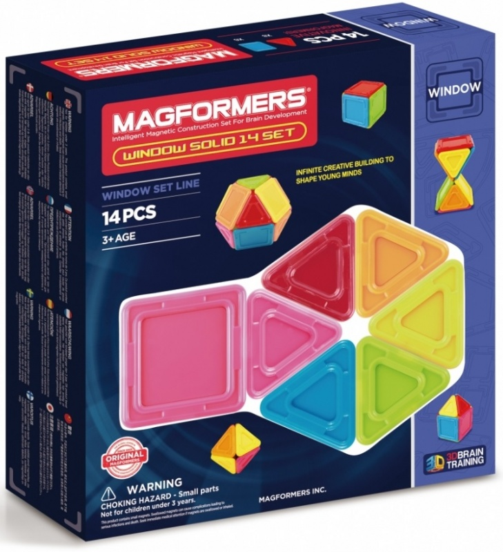 Магнитный конструктор Magformers Window Solid 14 setГлавная особенность набора — детали со сплошным непрозрачным центром.В составе набора 14 деталей из непрозрачного пластика ярких цветов, которые так нравятся малышам.В комплект входит 8 квадратов, 6 треугольников и яркая, хорошо иллюстрированная книга идей.<br>