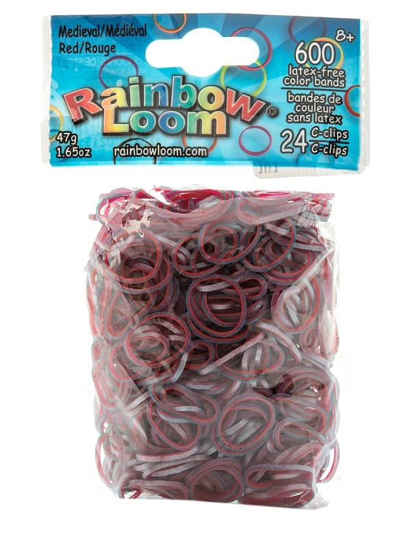 Резиночки - КрасныйРезиночки для плетения браслетов, коллекция Средневековье, 24 с-клипсы, 600 резиночек<br>