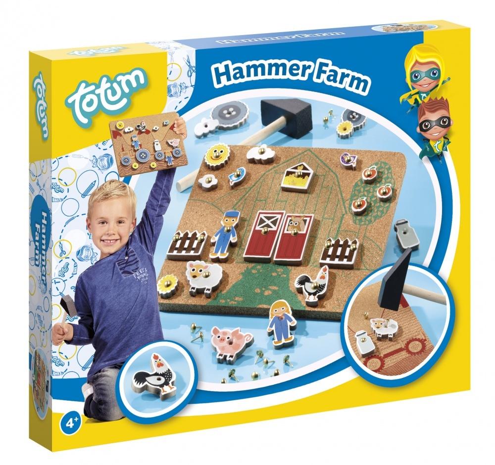 Набор для творчества HAMMER FARMНабор для творчества  HAMMER FARM. Игра-мозайка для обучения работе с молотком, на тему жизни на ферме. В набор входит: пробковый лист с двусторонним рисунком, жесткие картонные фигурки на тему фермы, гвозди с полукруглой головкой, деревянный молоток, инструкция. Рекомендуемый возраст 4+<br>