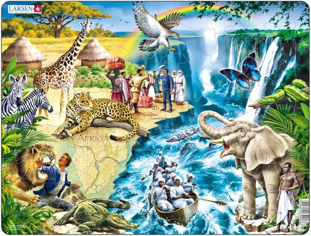 Пазл Larsen Дэвид ЛивингстоунКрасивый норвежский пазл посвящен великому шотландскому исследователю Африки Дэвиду Ливингстону. На пазле изображены различные африканские животные и аборигены на фоне прекрасного пейзажа.Многообразие форм вырубки и различные размеры отдельных элементов способствуют развитию мелкой моторики у малышей. Сделанные из высококачественного трехслойного картона, они не деформируются и легко берутся в руки. Все пазлы снабжены специальной подложкой, благодаря чему их удобно собирать.Яркие и оригинальные пазлы норвежского бренда Ларсен радуют детей и взрослых. Каждый пазл - настоящая картина, которую необходимо собрать, чтобы восхищаться удивительными животными и птицами.<br>