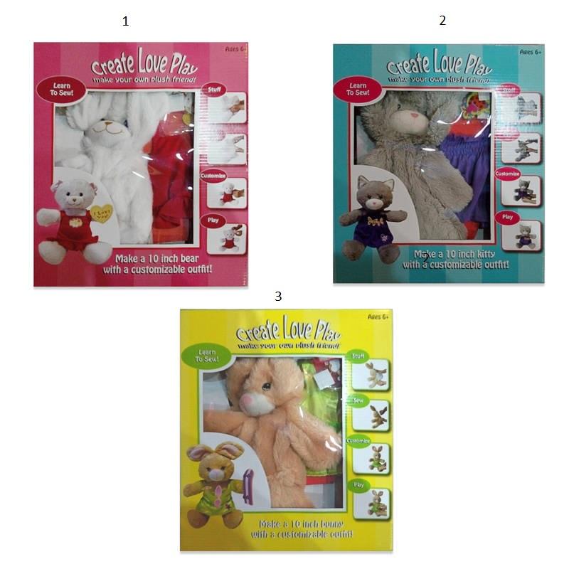 Набор для творчества. Серия А Шьем игрушку сами мишка, кролик, серый котик, 3 вида в ассортиментеНабор для шитья Create Love Plaу предлагает создать своими руками прелестную игрушку, которая станет верным спутником в придуманных детьми захватывающих приключениях. Благодаря безопасной пластмассовой игле, ребенок может не бояться пораниться во время шитья. Когда игрушка будет готова, нужно будет набить ее наполнителем, который включен в данный набор для творчества. Сшитую мягкую зверушку можно одеть в уже готовую для нее одежду или попробовать придумать новый наряд, используя дополнительные аксессуары для украшения игрушки. В процессе шитья, ребенок освоит новый вид рукоделия, улучшит навыки манипуляций предметами, терпение, а также проявит свои творческие способности.Внимание! Товар представлен в ассортименте. Цена указана за 1 шт. Номер желаемого набора указывайте в комментарии к заказу.<br>