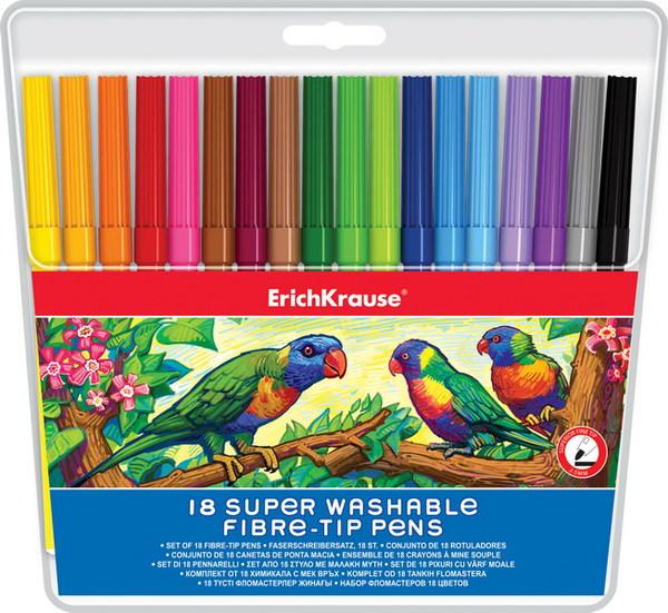 Фломастеры ErichKrause 18цв, цветные колпачки
