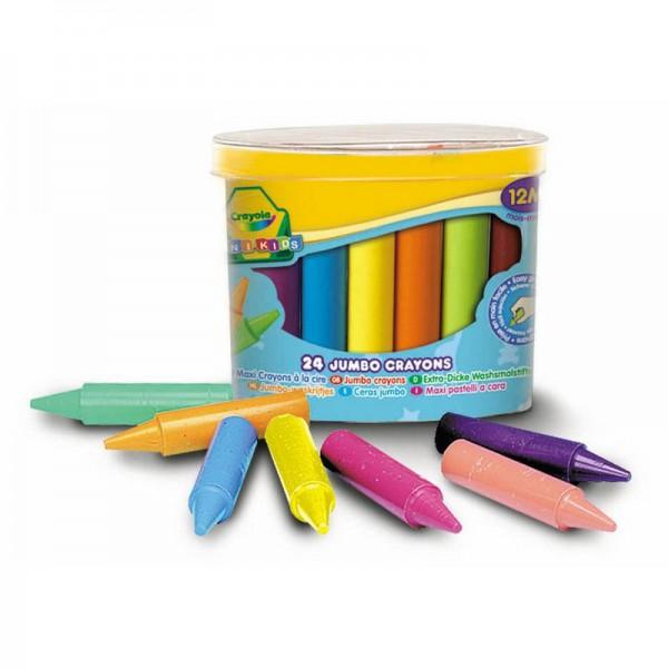 мелки Crayola восковые 24 штНабор восковых мелков «Jumbo Crayons», для самых маленьких, состоит из 24 разноцветных мелков, которые отличаются высокой механической прочностью благодаря двойной обертке.Мелки выполнены в форме карандашей разных цветов. Они короткие и толстые, не выскальзывают из руки малыша, только начинающего рисовать.Восковые мелки предназначены для рисования по бумаге и являются альтернативой привычным цветным карандашам.Они изготовлены из натурального пчелиного воска с добавлением растительных красок, поэтому безвредны для ребенка, даже если он попробует их на вкус.Восковые мелки отлично передают цвета и имеют широкую гамму оттенков, обеспечивая качество цвета и линии на уровне лучших цветных карандашей<br>