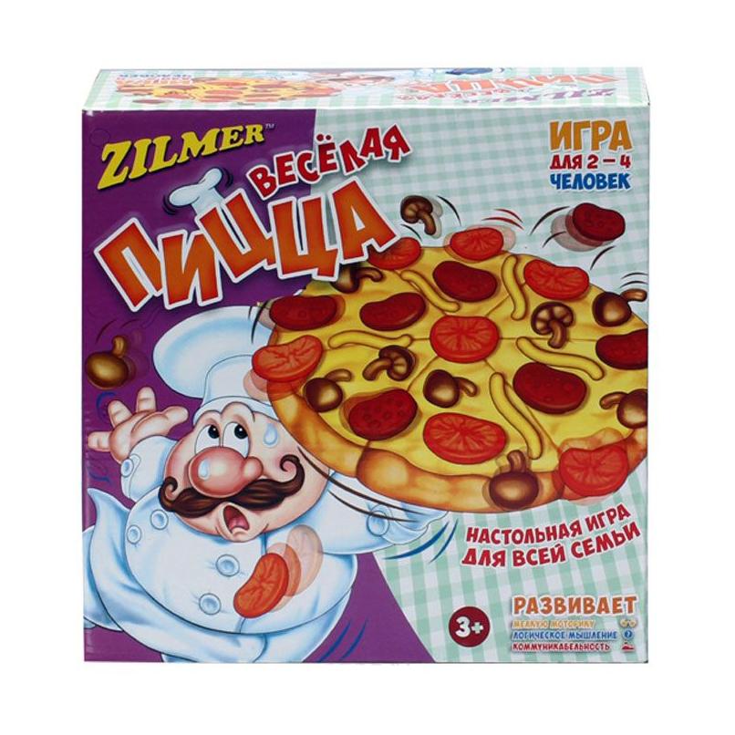 Zilmer настольная игра для детей и всей семьи Весёлая пиццаЭтот повар - настоящий профессионал в приготовлении пиццы! И он с радостью поделится своими навыками с вами! Вам нужно просто кидать кость с изображением ингредиентов. Тот ингредиент, который выпадет вам, следует положить на пиццу.Но будьте аккуратны! Повар не должен уронить пиццу!<br>