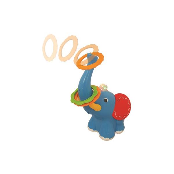 Кольцеброс Цирковой слоникРазвивающая игрушка Kiddieland «Цирковой Слоник» несомненно порадует малыша! При движении Слоника вперед, назад и в разные стороны ребенок должен набросить кольца на его хобот. Игра сопровождается веселой музыкой и мерцанием разноцветных огоньков. Игра со слоником способствует развитию фантазии, воображения, пространственного мышления, мелкой моторики и координации движений. Все элементы набора выполнены из качественного пластика.В наборе: слоник, 3 кольца.Питание: 3 батареи АА (входят в комплект).<br>