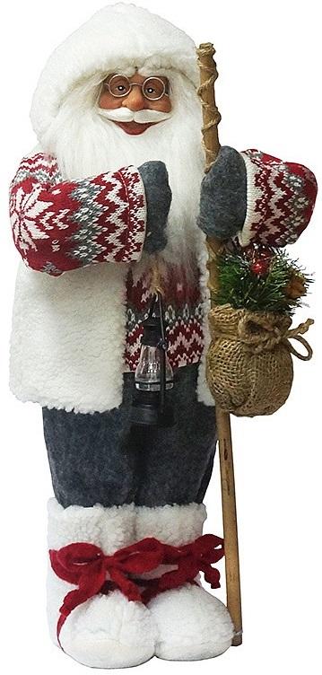 Дед Мороз с посохом в свитереДед Мороз — большая рождественская фигурка. Выглядит очень естественно, со множеством мелких деталей. Отлично встанет под новогоднюю елку.<br>