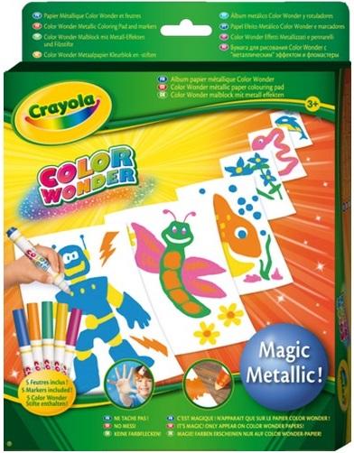 Бумага для рисования Crayola Color Wonder c металлическим эффектомЭто настоящая волшебная бумага для по-настоящему волшебных рисунков!В наборе: 5 листов бумаги с металлическим эффектом и 5 маркеров.<br>