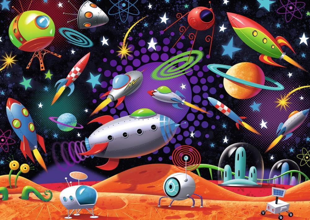 Пазл Космос, 35 элементовПозвольте вашему ребенку совершить путешествие в космос вместе с пазлом «Космос» от компании Ravensburger. Яркий и красочный пазл, на котором изображены всевозможные космические корабли, спутники и луноходы, поможет вашему ребенку не только хорошо провести время, но и развить мелкую моторику пальцев и улучшит пространственное мышление. Он сделан из качественного картона и бумаги, благодаря чему картинка получится очень ровной и красивой.<br>