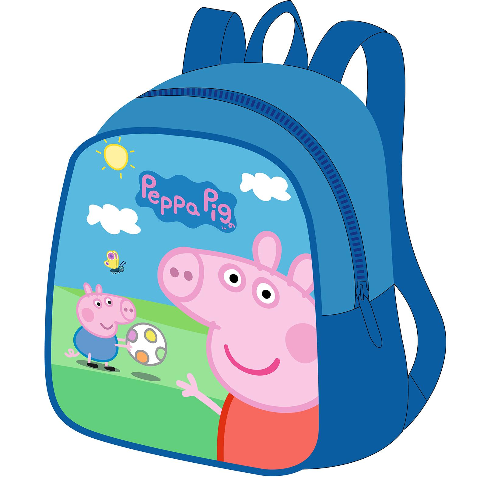 Рюкзак Свинка Пеппа, малыйЯркий рюкзак Peppa Pig от производителя Росмэн имеет небольшой размер, удобную классическую форму и подойдет детям от 3 лет. Маленькому обладателю рюкзачка будет удобно носить в нем свои игрушки и другие мелкие вещи, а забавные герои мультфильма Свинка Пеппа всегда развеселят и поднимут настроение!<br>