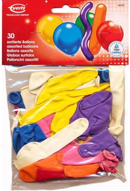 Набор разноцветных шариков Everts в ассортименте, 30 шт.Набор надувных шариков для декорирования помогут Вам необычно украсить комнату к празднику. В наборе есть шарики разных цветов, размеров и форм. Шарики сделаны из безопасных материалов.<br>