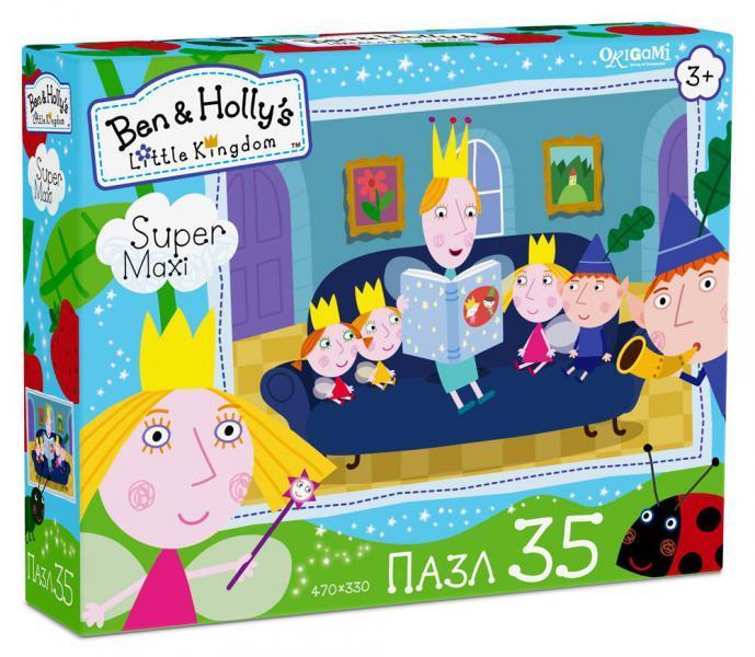 Ben &amp; Holly Пазл Читаем сказкиМакси-пазл Читаем сказки от производителя Origami прекрасно подойдет для первого знакомства малышей с удивительным миром данного рода головоломок. На изображении представлены веселые персонажи мультипликационного сериала Маленькое королевство Бена и Холли. Большие картонные детали удобно брать детскими ручками и соединять между собой, создавая цельную картинку. Малышам наверняка понравится работать с данным макси-пазлом, и это может стать началом большого увлечения.<br>