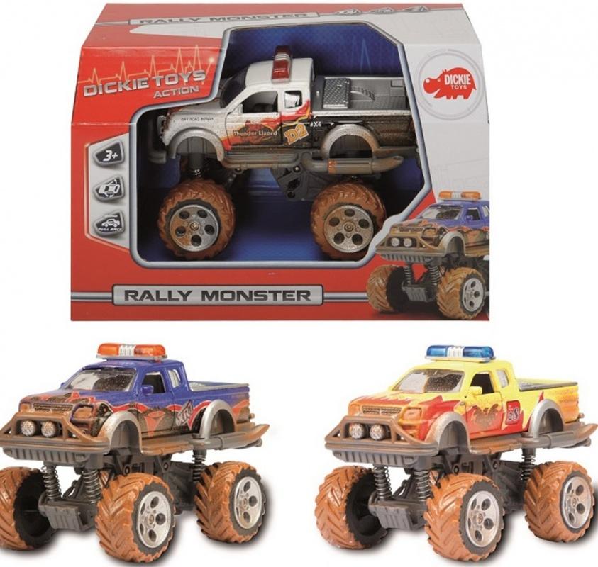 Внедорожник с имитацией грязи Dickie Rally MonsterИгрушечный внедорожник Rally Monster покрыт коричневыми пятнами, правдоподобно имитирующими дорожную грязь. Корпус машинки выполнен в ярко-желтом цвете. Его поверхность покрыта стилизованными изображениями пламени, номерами, символами и другими картинками. Кроме того, игрушка может похвастать встроенным фрикционным механизмом, благодаря которому ее можно запускать, дабы она преодолевала небольшие расстояния без помощи игрока.Система амортизации обеспечивает внедорожному авто максимальную проходимость даже в самых трудных условиях. Изготовлена эта высокодетализированная модель из обыкновенного пластика, обеспечивающего ей, помимо всего прочего, солидный запас прочности.<br>