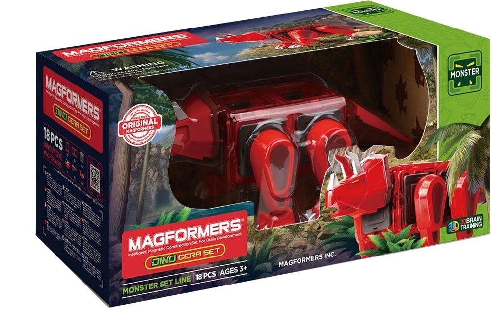 Магнитный конструктор Magformers Dino Cera set, 18 деталейМагнитный конструктор Magformers Dino Cera Set - конструктор для любителей динозавров. В набор, помимо магнитных деталей, входят вставки с подвижными частями тела динозавра. Ребенок может собрать модель трицератопса, который умеет вращать головой, двигать хвостом, шагать. В результате получается полноценная игрушка.Magformers - это развивающий магнитный конструктор нового поколения. Магнитные детали разнообразных геометрических форм складываются в самые невероятные модели: башни и роботы, животные и автомобили. Магниты укреплены внутри деталей конструктора особым образом, который позволяет им поворачиваться друг к другу нужной стороной. В результате детали всегда притягиваются, а строить из них легко и удобно.Magformers обладает уникальным развивающим потенциалом и подходит для игры и занятий с самого раннего возраста. Работа с деталями улучшает мелкую моторику, а постройка объемных фигур развивает пространственное и абстрактное мышления.Детали Magformers изготовлены из очень прочного и эластичного пластика, который нелегко сломать и взрослому человеку. Ваш ребенок не поранится острыми краями обломков и не доберется до маленьких магнитов внутри!<br>