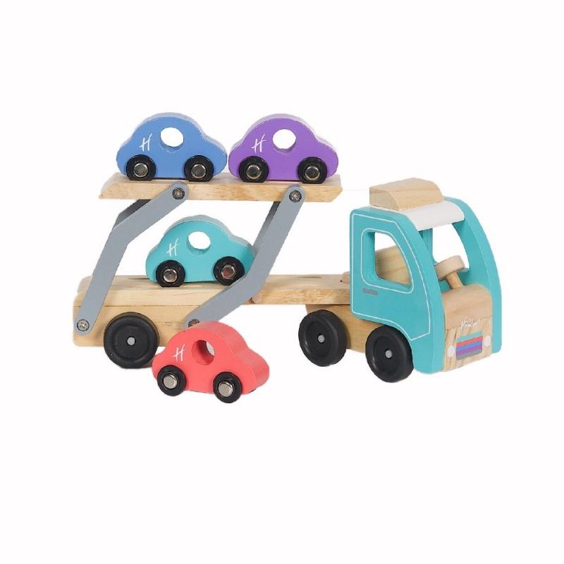 Игрушка деревянная Hamleys Транспортер и 4 машинки