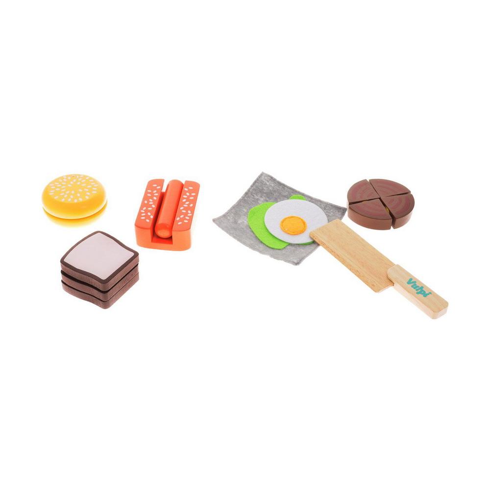 Деревянный набор «Завтрак»Игровой набор Vulpi Завтрак, несомненно, привлечет внимание вашей малышки и не позволит ей скучать. Набор включает в себя игрушечные продукты (хотдог, бургер, тосты), а также нож для нарезки. Все предметы изготовлены из высококачественного дерева. Для имитации нарезки каждый продукт состоит из разъединяющихся частей на липучках. Набор окрашен в яркие цвета нетоксичными, безопасными красками. Увлекательная игра поможет развить вашему ребенку воображение и фантазию, мелкую моторику рук. С этим набором маленькая хозяйка будет часами занята интересной игрой и сможет вкусно накормить всех своих кукол.<br>