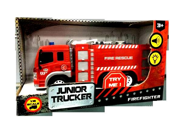 Инерционная пожарная машина Junior Trucker - Fire Rescue, 1:16, со световыми и звуковыми эффектамиПожарная машина от Dave Toys представляет собой игрушечную копию настоящего автомобиля. Инерционный механизм, встроенный в игрушку, позволяет ей двигаться, если ребенок, чуть надавив, оттянет ее назад и отпустит. Машина имеет световые и звуковые эффекты, которые сделают любую игру долее интересной и увлекательной.от 3 летДля мальчиковЦвет: красный, белый, серый, черный.Масштаб: 1:16.Тип батареек: на батарейках.Материалы: пластик, резина.Размер упаковки: 32.6 x 18.6 x 11.5 см.Размер игрушки: 28.5 x 8.5 x 16 см.<br>