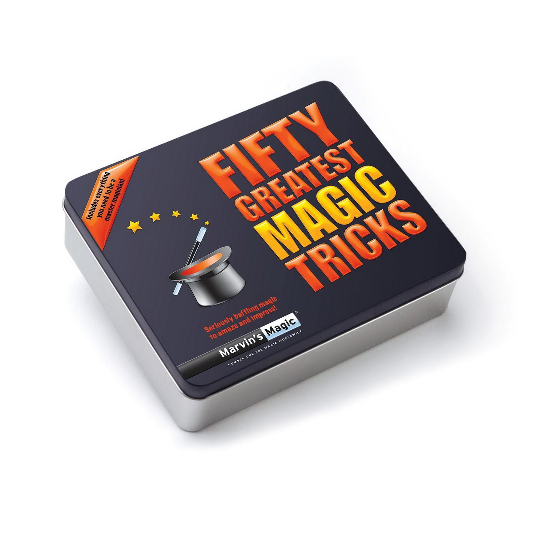 50 лучших фокусов Марвина в металлической коробкеСтань настоящим волшебником с Marvins Magic! Этот фантастический набор для демонстрации 50 фокусов содержить все, что нужно для захватывающего магического шоу. С этим эксклюзивным набором, включающим специальные приспособления и учебник  в твердом переплете, вы сможете с легкостью выучить и продемонстрировать 50 изумительных трюков. Набор включает в себя Магические Карты, Перемещающиеся Монеты, Иллюзию с Исчезающей Ручкой, Исчезающий Носовой Платок, Летающую Спичку и другие фокусы. Подходит для детей от 8 лет<br>