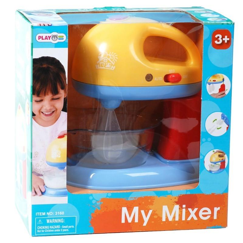 Игровой электрический миксерИгровой детский миксер яркой расцветки. Модель имеет функции настоящего миксера. В игровой набор входят: миксер с подставкой, миска, 4 насадки для взбивания. Миксер собирается взрослым согласно рисунку на коробке. Игрушка непременно понравится маленькой хозяйке, можно играть вместе с подругами, придумывая новые игровые сюжетым. Детям от 3 лет.<br>