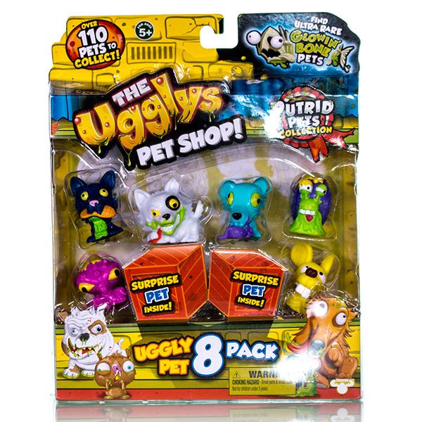 Ugglys Pet Shop Фигурка, 8 штук в наборе, в ассортиментев магазине игрушекШесть из 8 фигурок видно сразу, 2 скрыты в картонных ящиках и попадаются случайно. Это неплохая возможность пополнить свою коллекцию Хулиганских животных редкой или супер редкой миниатюрой.Всего коллекция состоит из 101 фигурки питомцев, застуканных в не самый простой момент их жизни. В серии встречаются и собачки, и кошечки, и птички и, даже, жабы! Также есть возможность получения уникальной золотой собачьей «каки».Все фигурки изготовлены из экологически безопасных материалов, приятных наощупь.<br>