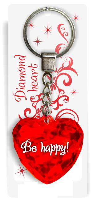"Брелок Би-Хэппи Диамантовое сердечко Be happy, 3 красныйИменной брелок ""Диамантовое сердце"" Be happy, 3 красныйСостав: пластик, металл.Размер сердца: 4х4х2см.Длинна цепочки — 4 см.Диаметр кольца — 2 см.<br>"