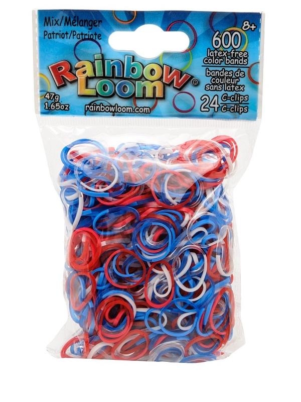 Резиночки - Микс ПатриотРезиночки для плетения браслетов, 24 с-клипсы, 600 резиночек<br>