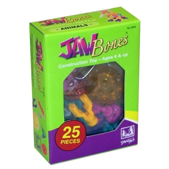 Конструктор Jawbones Животные, 25 деталейНовый развивающий конструктор Jawbones от американской компании Shoptaugh Games. При помощи красочных деталей, с уникальным креплением, можно собрать практически любую конструкцию или предмет в оригинальном и неповторимом стиле. Развивающий конструктор для детей от 6 лет.<br>