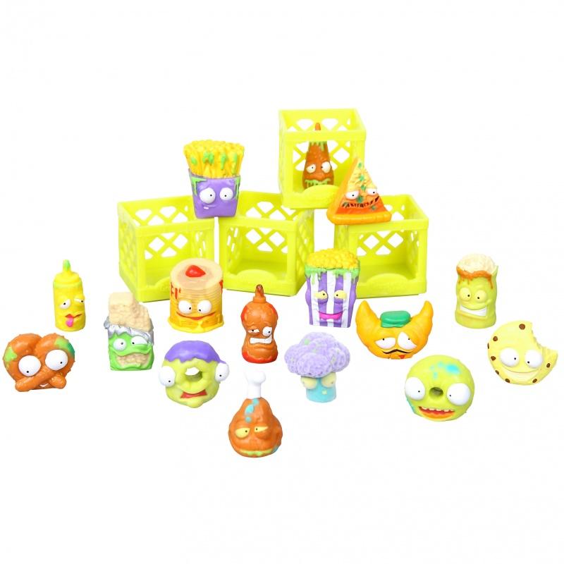 Игровой набор Grossery Gang - Chunky Crunch, 16 фигурокИгровой набор фигурок Grossery Gang от производителя Moose представляет собой довольно странное собрание коллекционных персонажей. В набор Для завтрака входит своеобразное ассорти испорченных продуктов: безумных, но в то же время забавных и вызывающих улыбку. Фигурки Chunky Crunch пополнят необычную коллекцию, объектами которой являются продукты с супермаркета, только представленные в ином свете. Комплект включает в себя 6 эксклюзивных и 10 обычных фигурок, 4 ящика и памятку коллекционера.Внимание! Товар представлен в ассортименте без возможности выбора. Цена указана за 1 набор.<br>