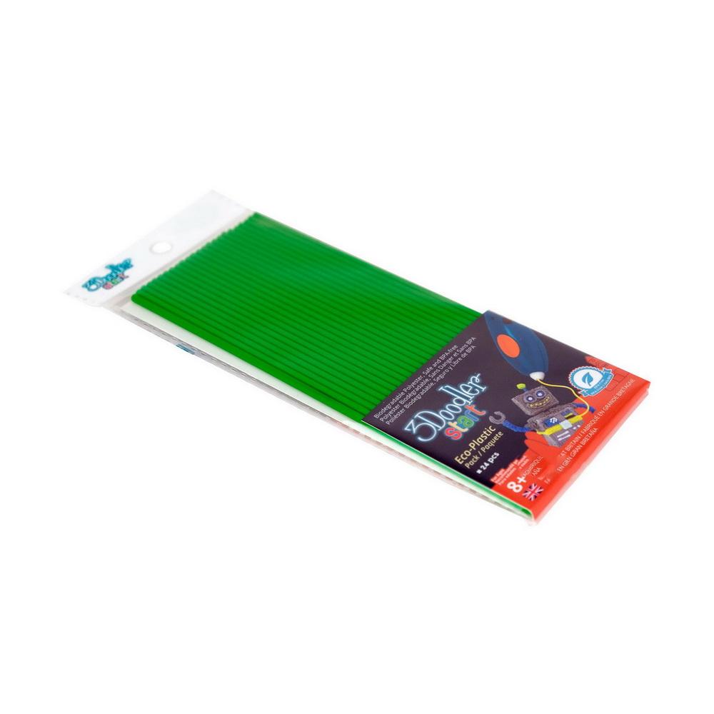 Эко-пластик к 3Д ручке 3DOODLER START, цвет зеленый, 24 шт.Стержни для 3D-ручек 3Doodler Start, выполненные из высококачественной пластмассы, подарят бескрайний простор для полета детской фантазии. Уникальные стержни зеленого цвета позволят ребенку своими руками создать множество ярких объемных фигурок. Эко-пластик для 3D-ручек 3Doodler Start нагревается при низкой температуре и является безопасным для здоровья ребенка.<br>