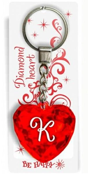 """Брелок Би-Хэппи Диамантовое сердечко К, красныйИменной брелок """"Диамантовое сердце"""" К, красныйСостав: пластик, металл.Размер сердца: 4х4х2см.Длинна цепочки — 4 см.Диаметр кольца — 2 см.<br>"""