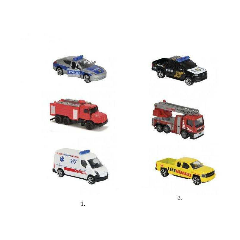 Набор из 3-х машинок SOSИгровой набор из трех автомобилей SOS от бренда Majorette поможет взрослым познакомить детей с такой важной информацией как службы экстренного вызова. На примере игрушек ребенок запомнит, в каких случаях какая служба необходима. Три машины, которые входят в комплект, выполнены в виде машины скорой помощи, пожарной машины и патрульного автомобиля полиции. С каждой машиной можно играть по отдельности, колеса у игрушек не статичны, они ездят. Каждая машина скопирована с реальной модели, а пожарная машина оснащена функцией разбрызгивания воды. Машины имеют яркий дизайн, дополненный специальными наклейками на корпусе.Внимание! Дизайн машин может незначительно варьировать и отличаться от представленного на фото.Товар представлен в ассортименте, цена за 1 набор.<br>