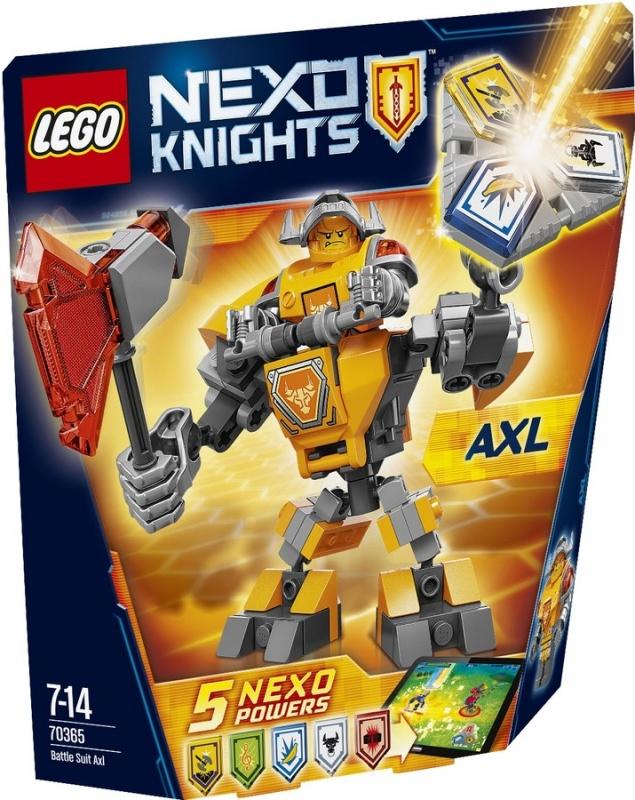 Конструктор Lego Nexo Knights Боевые доспехи АкселяНадень на Акселя высокотехнологичные боевые доспехи и преврати Акселя в мощнейшую машину для сражений. Сделай его удары огромным топором ещё более мощными. А потом сам придумай, как тебе в одиночку победить Монстрокса и каменных монстров с помощью трех любых NEXO-Сил, которые ты объединишь в уникальную комбинацию. Отсканируй их при помощи бесплатного приложения LEGO® NEXO KNIGHTS™: MERLOK 2.0. Выбери одну из пяти NEXO-Сил: «Золотой топор», «Стальной минотавр», «Сила музыки», «Электрическая атака» и «Банановые бомбы». Герои NEXO KNIGHTS могут контролировать собственную комбинацию NEXO-Сил только в полном боевом облачении!Информация о набореАртикул: 70365Производитель: LEGOКол-во деталей: 88Фигурок: 1Год выпуска: 2017<br>