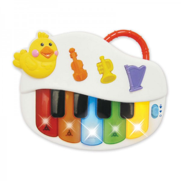 Пианино Kiddieland развивающееМаленьким музыкантам придется по вкусу это яркое и веселое пианино! Оно оснащено 5 разноцветными и 4 черными клавишами. А еще на панели пианино имеются 3 кнопочки, нажав на которые, можно переключаться между режимами музыкальных инструментов.Во время игры на клавишах мигают лампочки. Чтобы маленькой детской руке было удобно держать пианино, на него установлена ручка.Эта замечательная игрушка поможет ребенку в развитии логики, музыкального слуха и творческого мышления.Требуются 2 батарейки стандарта LR6 АА 1,5V (входят в комплект).<br>