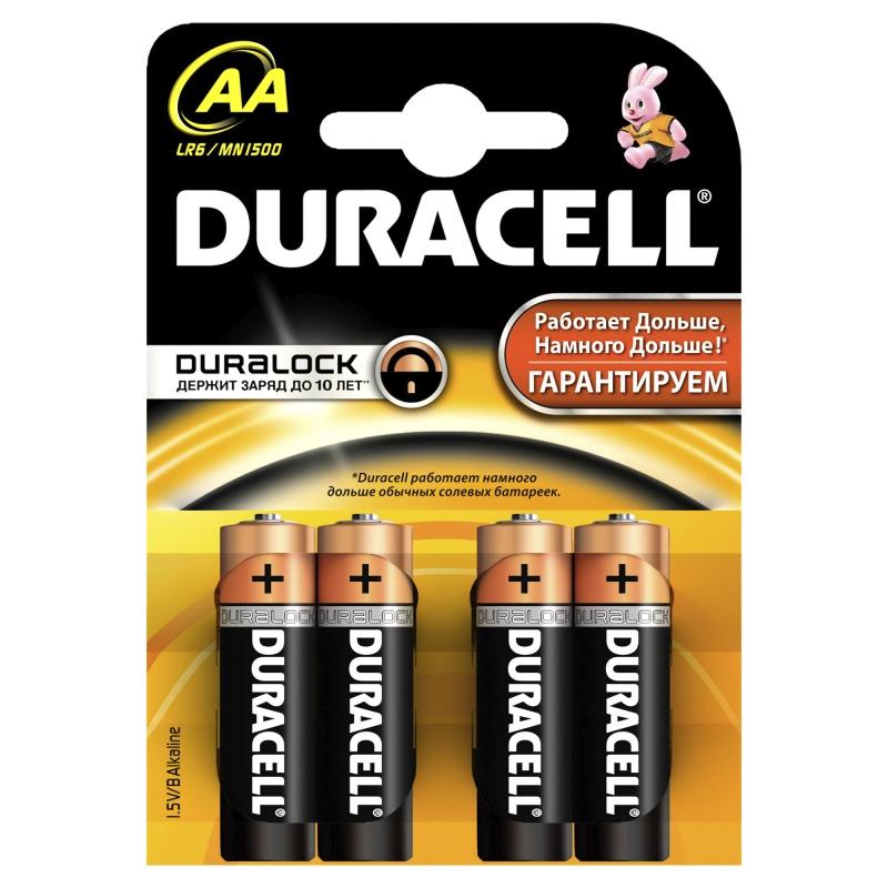 DURACELL Basic AA Батарейки алкалиновые 1 5V LR6 4шт  батарейки aa lr6 4шт duracell щелочные basic
