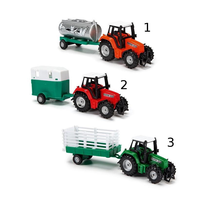 Трактор с прицепом, металл, 3вида, 18смПроизводитель Dickie, изготавливающий качественные детские игрушки, предлагает разнообразить коллекцию машинок ребенка трактором с прицепом Farm Life Team. Игрушка выполнена из нетоксичных металла и пластика, безопасных для детей. Трактор и прицеп окрашены в приятные цвета, имеют подвижные колеса и позволяют перевозить игрушечные фигурки по комнате.Внимание! Товар представлен в ассортименте. Цена указана за 1 игрушку. Указывайте в комментарии номер желаемого трактора.<br>