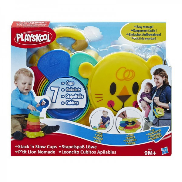 Пирамидка-львенок Playskool возьми с собойДетям от 9 месяцевОтличная развивающая игрушка для вашего ребенка.Пирамидка-львенок - это яркая игра. Малыш может складывать чашки одну на другую или укладывать их внтурь друг друга по принципу матрешки, развивая навыки мелкой моторики.Компактный размер пирамидки повзоляет ей с легкостью помещаться в дорожную сумку.<br>
