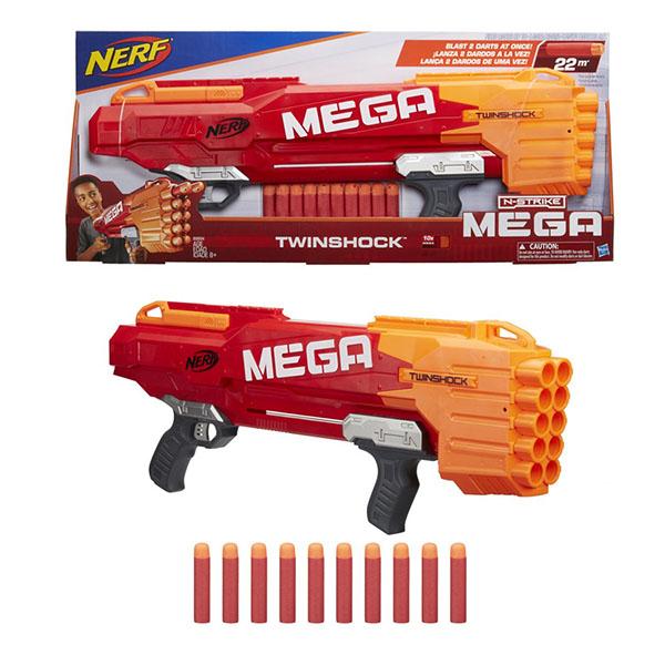 Nerf Бластер Мега ТвиншокКомпания Hasbro представляет бластер Твиншок из серии Нёрф Мега. Яркий и красочный бластер выполнен в виде фантастического оружия, оснащенного удобной двойной рукояткой. Ребенку будет удобно придерживать его с двух сторон и представлять себя героем фантастического фильма.В комплекте с оружием имеются несколько пуль, выполненных в форме патронов с пластиковым наконечником. Для них в бластере имеются отверстия, которые легко можно заряжать и наслаждаться игрой. С помощью такого бластера можно устраивать веселые приключенческие игры с друзья или просто стрелять по мишеням, соревнуясь в меткости.Бластер Twinshock изготовлен из прочного пластика ярких красно-оранжевых оттенков. Он может стать любимой игрушкой современного ребенка и доставить ему массу веселых моментов.<br>
