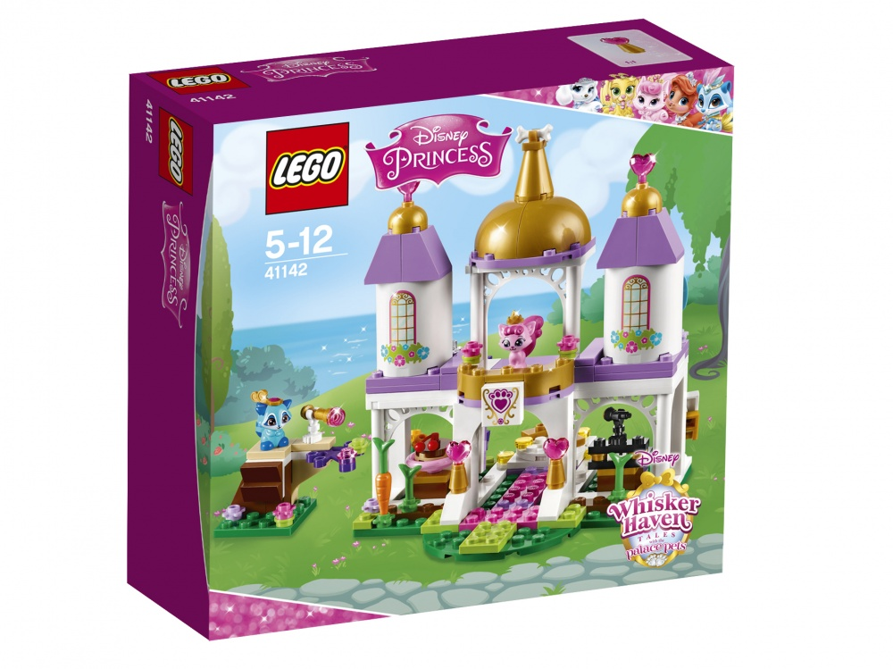 Конструктор Lego Disney Princess Королевские питомцы: замокКотёнок принцессы Авроры Милашка и енотик Покахонтас Василёк пригласили всех друзей на бал в королевском замке домашних питомцев. Вскарабкайся на наблюдательную башню — гостей ещё не видно? Сыграй всем на фортепиано, а затем устрой танцы на вращающемся полу. После вечеринки для каждого королевского питомца найдётся место во дворце.<br>