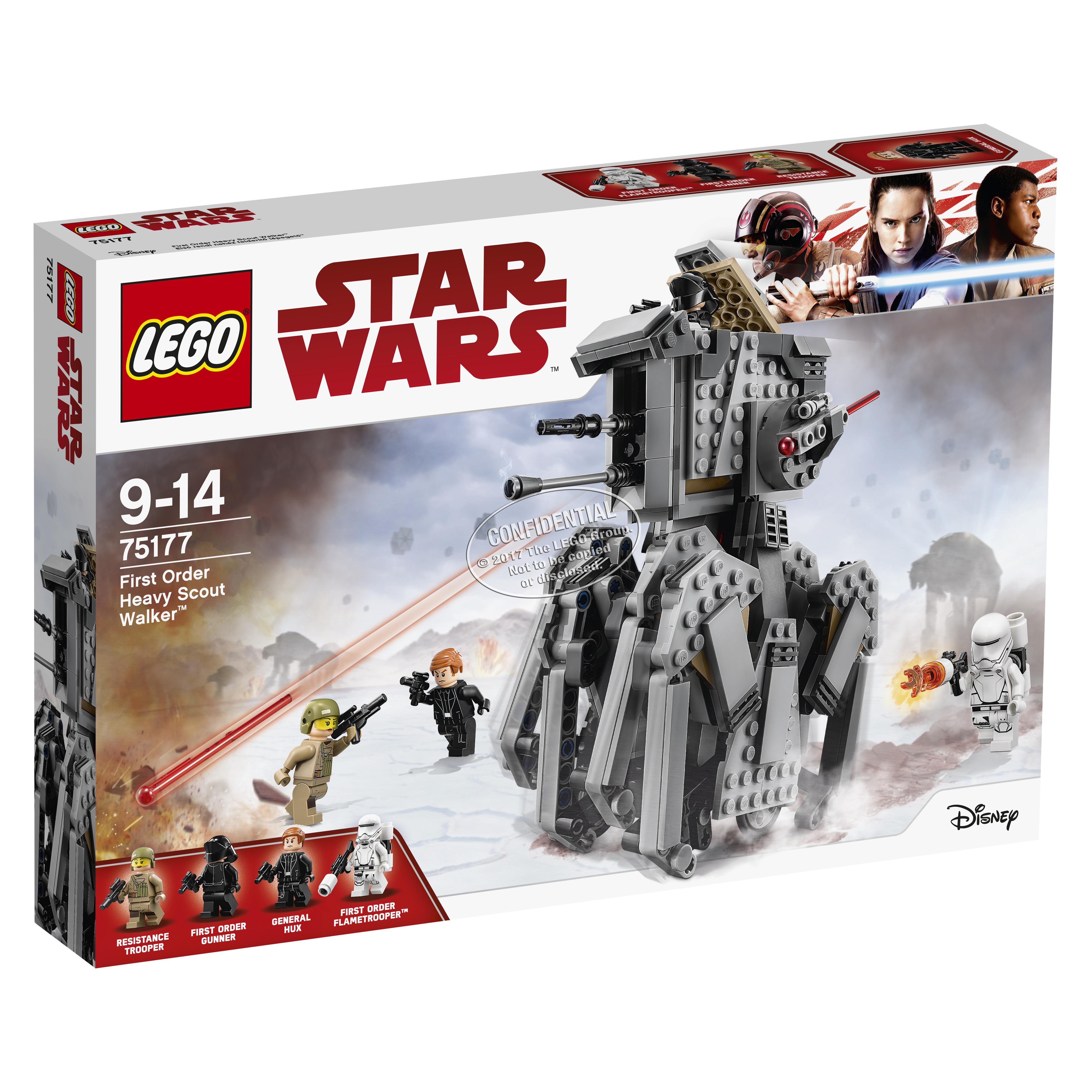 Конструктор LEGO Star Wars 75177 First Order Heavy Scout WalkerОтправляйся на поиски бойцов Сопротивления в тяжёлом разведывательном шагоходе Первого Ордена. Посади генерала Хакса в кабину и отдавай приказы штурмовику-огнемётчику. Управляй шагающим роботом и посмотри, как его ноги начнут двигаться! Когда заметишь врага, наведи пушки и приготовься стрелять!<br>