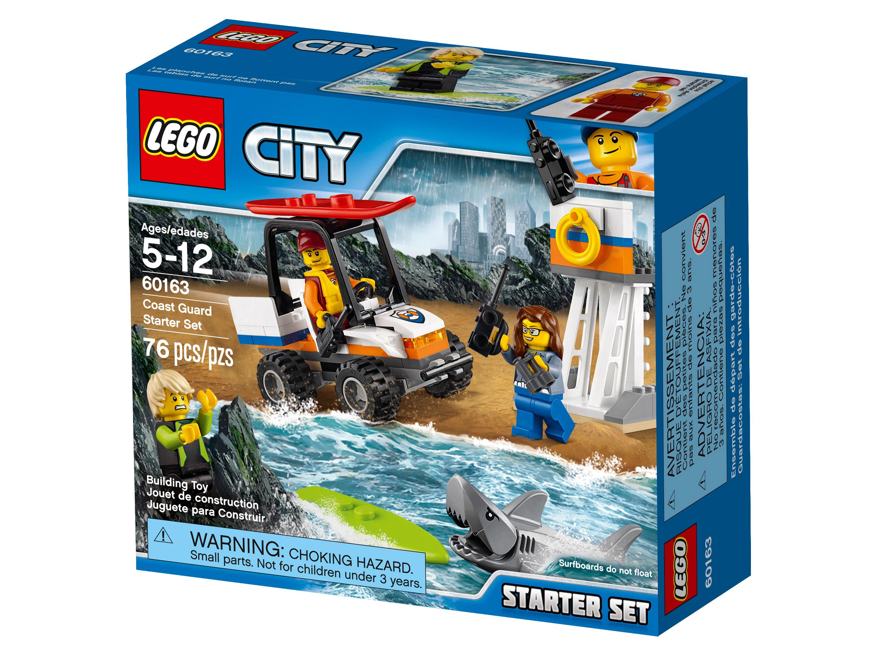 Набор для начинающих «Береговая охрана»Теперь ты сотрудник береговой охраны! Скорее бери рацию и отправляйся на пляж LEGO® City! Забирайся на вышку и высматривай опасность в морских волнах! Вызови спасателей, чтобы помочь попавшему в беду сёрферу. Садись за руль пляжного багги и скорее отправляйся к воде! Хватай доску для сёрфинга и плыви на помощь сёрферу, пока акула не догнала его. Новые приключения ждут сотрудника береговой охраны LEGO City каждый день!<br>