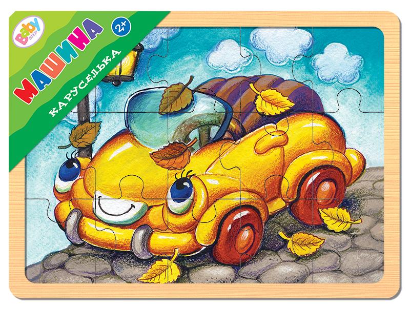 Игра из дерева Каруселька. Машина (Baby Step)Настольная развивающая игра из дерева Каруселька. Машина - экологически чистая и безопасная игрушка. Положительно влияет на развитие мелкой моторики и сенсорное восприятие ребенка.Эта игра для тех, кто только учится собирать пазлы. Простая картинка, оригинальная вырубка, эмоционально окрашенный образ помогут достичь результата.Характеристики игры:яркое изображение;средний размер детали - 4,5 х 4 см.;размер игрового планшета - 22 х 14,7 см.;толщина игры - 7 мм.;экологически чистые, нетоксичные материалы;игра изготовлена из специально обработанного дерева, поверхность игры гладкая и безопасная.Для кого подходит?Игра понравится детям от 2-х лет.Материал.Дерево.Что входит в состав игры?красочный деревянный планшет;15 пазлов-вкладышей.В серии Каруселька:Игра из дерева Каруселька. СамолётИгра из дерева Каруселька. КорабликИгра из дерева Каруселька. КотёнокИгра из дерева Каруселька. ЩенокИгра из дерева Каруселька. ЛошадкаИгра из дерева Каруселька. КоровкаИгра из дерева Каруселька. Паровоз<br>