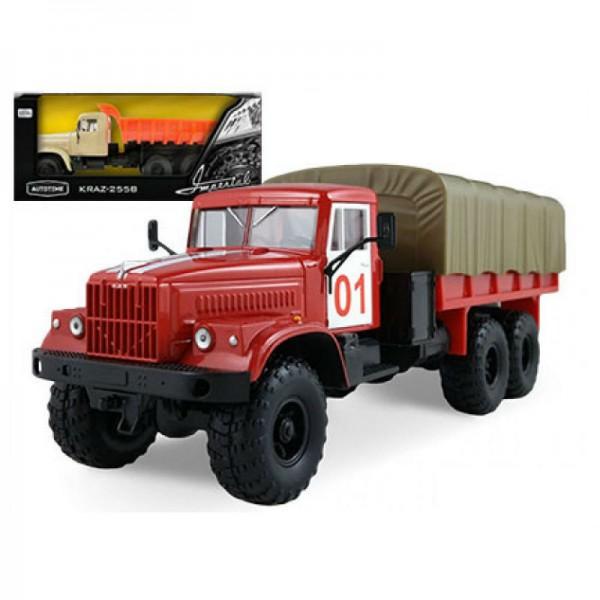Бортовой грузовик Autotime с тентом КрАЗ-255Б в ассорт. машинки autotime машина uaz 31514 ваи