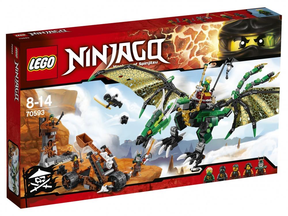 Конструктор Lego Ninjago Зелёный ДраконПомести Зелёного ниндзя Ллойда в седло, хватай поводья-цепи и взлетай в воздух. Расправь огромные крылья Зелёного дракона, чтобы взлететь ввысь, и атакуй смотровую башню небесных пиратов, используя его ужасную пасть и грозные когти. Уклоняйся от выстрелов из мобильной катапульты пиратов и отстреливайся из шипованных шутеров на хвосте дракона. Объединись с Призрачным Коулом для победы над Дублоном и членами его экипажа и верни Клинок джиннов!<br>