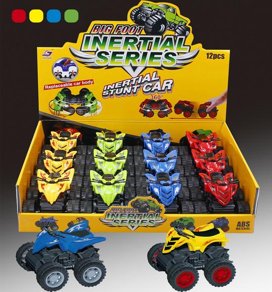Инерционный квадроциклИнерционная квадроцикл. Цвет: синий, зеленый, желтый, красный. Возможна отгрузка в дисплеях по 12 шт, 4 цвета в ассортименте.<br>