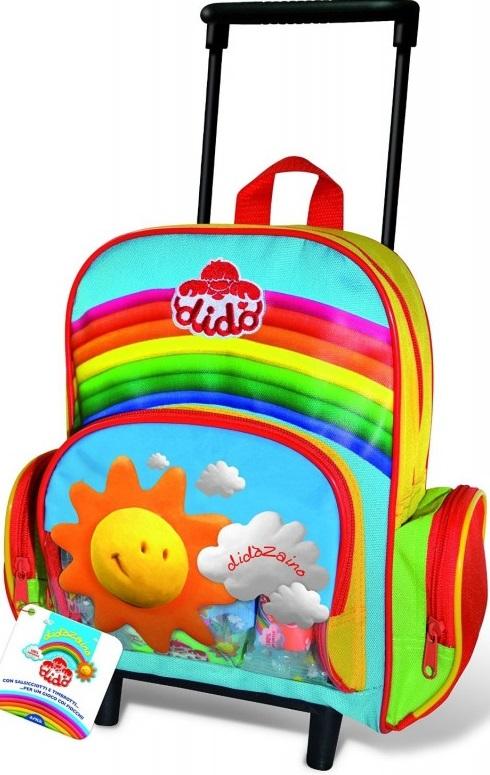 Рюкзак Dido с наполнениемРюкзак Dido Trolley на колесиках с наполнением - удобная и незаменимая вещь для ребенка во время прогулок или посещения подготовительных занятий. Малыш сможет сложить любимые игрушки, тетради, книги и канцелярские принадлежности. Яркий и красочный дизайн привлечет внимание ребенка.<br>