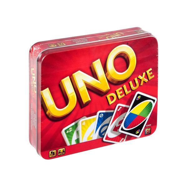 Игра настольная Уно , версия делюксВсе любят UNO® — дети, подростки и взрослые! Легко начать игру, и просто невозможно остановить ее, так она захватывает! Отличный способ провести приятный вечер вместе с семьей. В колоде UNO® есть карты «Пропусти ход», «Наоборот», «Возьми две», «Закажи цве<br>
