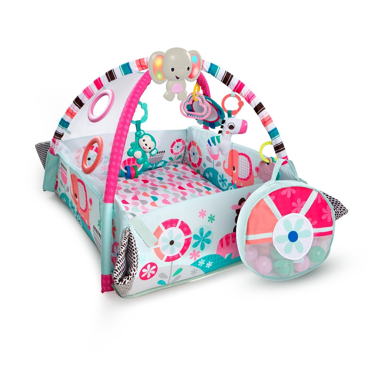 Купить со скидкой Развивающий коврик 5-в-1 Мечты об Африке, розовый, с мячиками