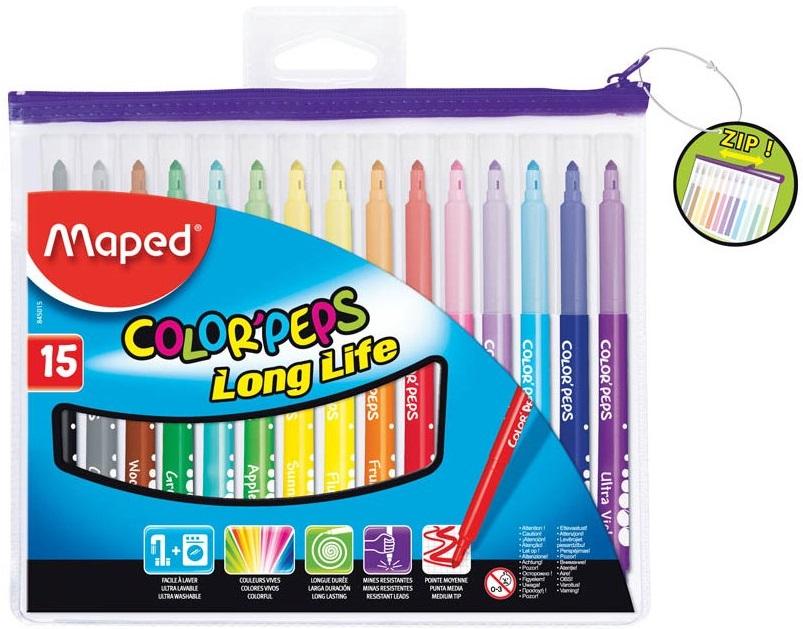 Фломастеры Maped Color Peps 15 цветовФломастеры от компании Maped станут отличным подарком для юного художника. В набор входят пятнадцать разноцветных маркеров, которые упакованы у компактную упаковку с застежкой. Чернила насыщенных цветов помогут создать яркие и запоминающиеся работы. Незапланированные линии легко смываются с одежды, кожи или мебели обычной водой. Вентилируемый колпачок и прочный корпус, выполненные из пластмассы, обеспечат набору долгий строк службы.<br>
