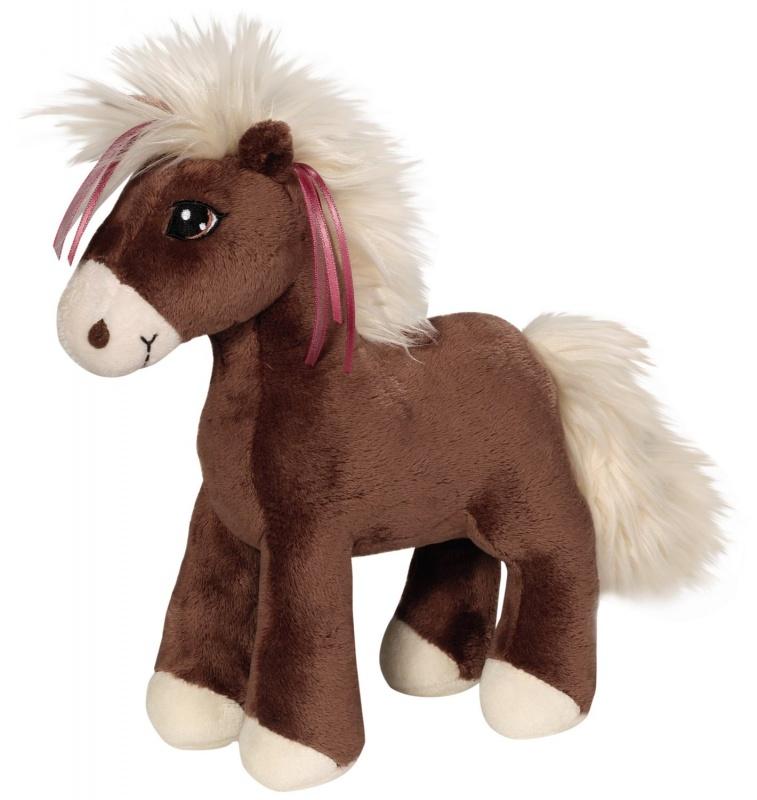Плюшевая игрушка Лошадка Вильвет, коричневая, 25 смДизайн коричневой лошадки с розовыми ленточками в гриве разработан в Германии. У Вельвет милая улыбка и обезаруживающий взгляд. Сделана игрушка из мягчайшего плюша, приятного на ощупь. За лошадкой так и хочется поухаживать: погладить по спинке, расчесать ей гриву и хвост щеткой, а затем вывести нового питомца на прогулку. На игрушке нет пластиковых элементов, даже глазки сделаны из текстильного материала, поэтому она подходит для самых маленьких. Однако из-за длинной шерстки на гриве и хвостике лошадку не рекомендуется давать игрушку малышам, которым еще нет десяти месяцев.Стирать игрушку можно вручную при температуре не выше 30 градусов.<br>