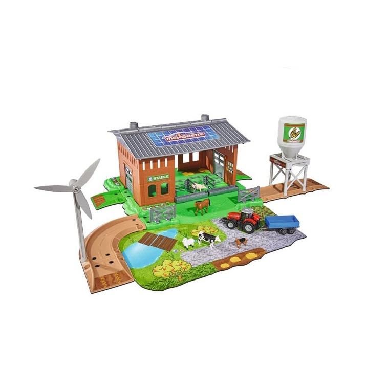 Набор Ферма Creatix + 1 тракторИгровой набор Ферма с трактором от итальянского производителя детских игрушек Majorette впечатлит множеством предметов, широкими игровыми возможностями и позволит ребенку получше узнать о жизни в сельской местности. Набор позволит ребенку собрать целый комплекс, состоящий из здания фермы, хранилища зерна, ветряной электростанции, прилегающего участка с озером, лужайкой и дорогами для машин.Трактор с прицепом выглядит очень реалистично. Прицеп отсоединяется от трактора. У машинки отлично крутятся колеса. Ребенок легко узнает животных, чьи фигурки входят в набор. Игровой набор Creatix порадует ребенка и надолго займет его внимание.<br>